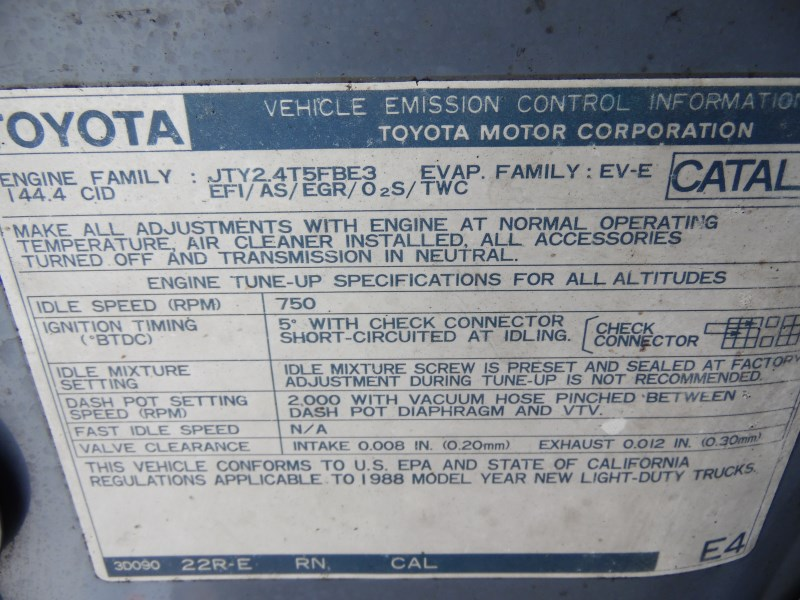 1988 TOYOTA 4RUNNER SKY BLUE 2 4L MT 4WD Z17706 - RANCHO