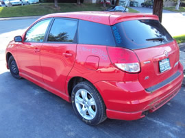 2003 TOYOTA MATRIX 4CLY. 5 SPEED TRANSMISSION , COLOR-RED , STK # Z10085