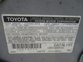 2001 TOYOTA ECHO SILVER 2DR 1.5L AT Z16239
